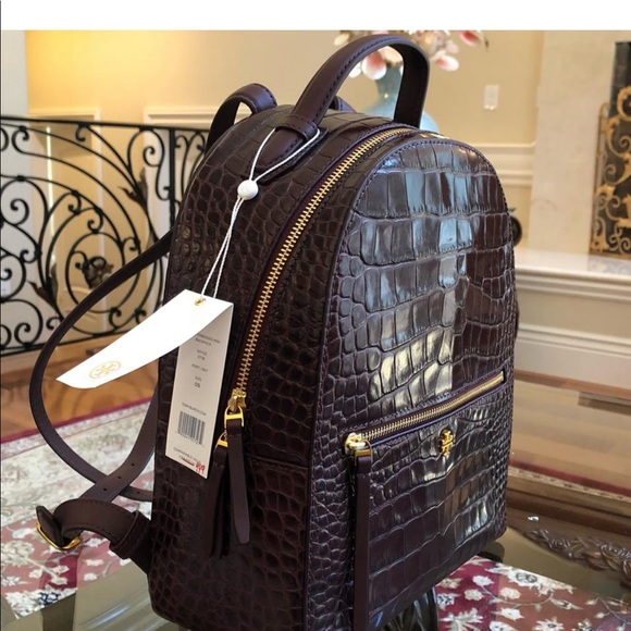 638075bdfed Authentic Tory Burch croc embossed backpack
